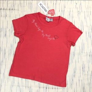 Wildfox Just No Embroidered Red Tee